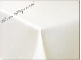 Obrus plamoodporny (wzór KROPKI) kolor ecri 130x220 prostokąt, podwinięcie duże (5cm) - na zamówienie